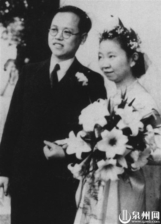 曹天钦、谢希德结婚照(1952年5月17日于英国)